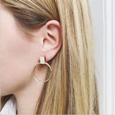 Fashion Women Gold Plated Big Circle Smooth Large Ring Hoop Ear Earrings