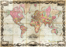 1854 World Map Mercator's Projection Vintage Wall Poster Office Home School