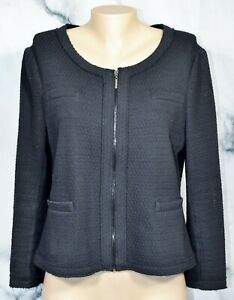 ALFANI PETITE Black Textured Zipfront Jacket Blazer PL Unlined Cotton Blend
