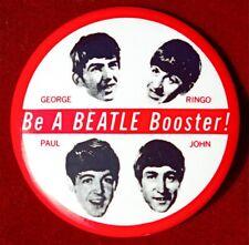 "Original Vintage Beatles Pin Button ""BE A BEATLE BOOSTER"" Adelaide Concert 1964"