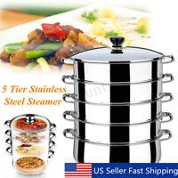 5 Tier Stainless Steel Steamer Induction Compatible Cookware 30cm Saucepan Pot