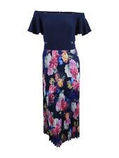 Xscape Women's Plus Size Pleated Floral Off-The-Shoulder Gown