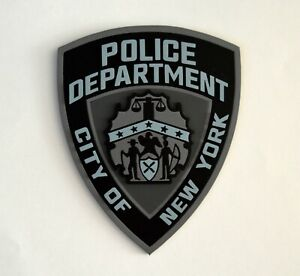 NYPD New York City Police Department Tactical Black and Gray Logo Plaque Wood