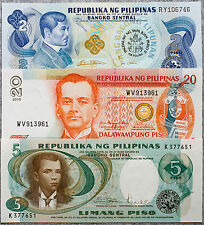 Philippines set of 3 different 2, 5 and 20 Piso Au-Unc.
