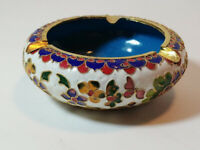 Asian Cloisonne Ashtray Floral Flowers 4-5/8 Inches Cloissone