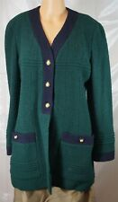 CHANEL Boutique 93A 1993 Green & Navy Button Front Wool Cardigan/Coat Size 8/40