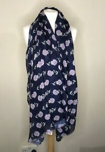 Navy Thistle Print With 20% Cashmere Woman's Scarf
