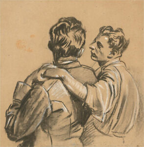 Giorgio Matteo Aicardi (1891-1985) - Charcoal Drawing, Fresco Study, Support