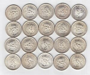 ROLL OF 20 UNC MEXICO 1944 SILVER 1-PESO  COINS