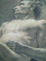 Rare grand dessin nu masculin XIXème homme allongé étude académique cadre pastel