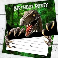 Dinosaur Birthday Party Invitations - Ready to Write with Envelopes (Pack 10)