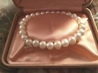 Vintage Jewellery Pearl Bracelet with Sterling Heart Charm Antique Jewelry