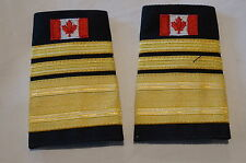 Canadian Fire 2 Two Bars and Thick Band Gold with Flag Shoulder Slip Ons Pair