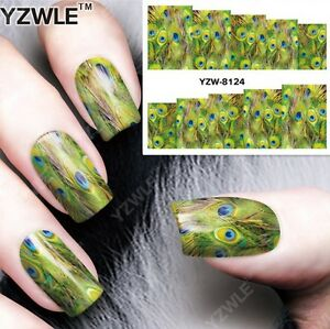 Green Peacock Feathers Nail Art Sticker Decal Decoration Manicure