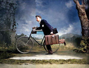 """1900 Jesse S. Wooley w/ Bike & Briefcase Old Photo 8.5"""" x 11"""" Reprint Colorized"""