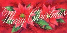 Unused Mid Century Poinsettias MERRY CHRISTMAS Atomic Greeting CARD Vintage MCM