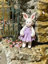 Vintage Miniature Dollhouse Artisan Julie Stevens White Rabbit Girl Doll 1:48