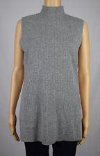 Calvin Klein Womens Gray Sleeveless Mock Neck Ribbed Sweater L