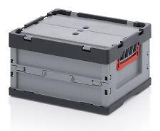 2er Set Faltbox mit Deckel Auer 40x30x22cm Faltboxen Kunststoffboxen Stapelkiste