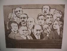 "Art print Charles Bragg black Lithograph gp ""The Jury"" Duotone Signed"