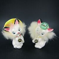 Vintage Cat Salt Pepper Shakers Fuzzy Hair Bells Hats Commodore Japan  INV462