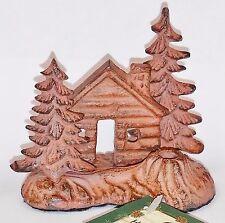 brass metal 3-D log cabin & trees Incense Burner Holder stick Paine's