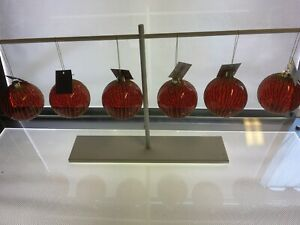 Set Of 6 Gisela Graham Red & Gold Glass Christmas Tree Hanging Baubles 8cm - 834