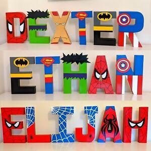 Childrens Superhero letters names.Marvel Avengers Spider-Man batman ironman kids