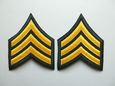 SERGEANT MILITARY SECURITY OFFICER RANK STRIPES PATCHES (BLACK / YELLOW)