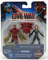 Marvel Civil War Iron Man Black Widow Miniverse Figure Toy B-Grade Box
