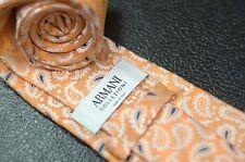 Armani Collezioni Men's Gold Orange & Navy Paisley Woven Luxury Silk Necktie
