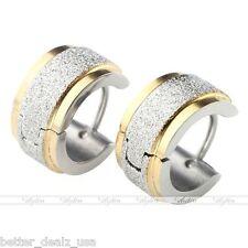 Pair Punk Silver Golden Stainless Steel Hoop Huggie Ear Studs Plug Earrings Mens
