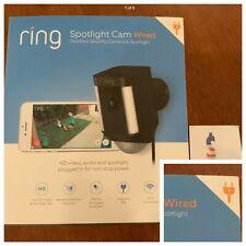Ring Spotlight Cam WIRED Security Camera Black -Alexa NEW