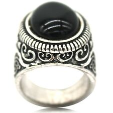 Size O to Z5 Retro Vintage Black Onyx Ring Wedding Cocktail Biker Punk Vintage