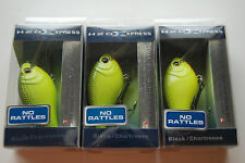 Lot of 3 H2O XPRESS CRM-NR Silent Crankbait, Black and Chartreuse