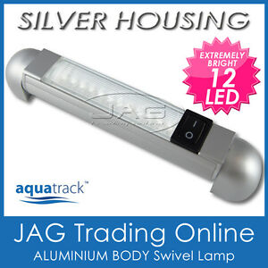 12V SILVER ALUMINIUM 12-LED SWIVEL READING RAIL LAMP/CABIN /BOAT LIGHT & SWITCH