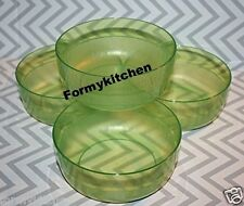 Tupperware Acrylic 2 Cups Cereal Bowls Set 4 Sheer Green New!!!!