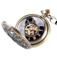 Classic Steampunk Bronze Skeleton Mechanical Pocket Watch Hollow Mens Xmas Gift