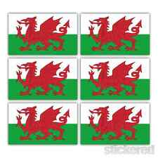 6 x SMALL WELSH DRAGON CAR BIKE HELMET WINDOW VINYL STICKERS / DECALS 25mm