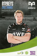 Ospreys V Sale Sharks LV Cup 31 jan 2014 brasserie champ, Bridgend rugby programme