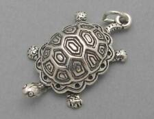 Turtle Tortoise Solid Sterling Silver 925 Charm Pendant Large 3D Sc329