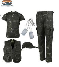 Kids Army BTP Black Camo Fancy Dress Children's Soldier Outfit Uniform Play Set