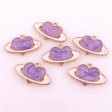 10pcs Enamel Purple Heart Charms Universe Charms For DIY Craft Jewelry 22988