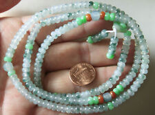 "Certified Natural ""A"" Gorgeous Icy Translucent Jadeite Jade Small Beads Necklace"