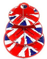 CUPCAKE STAND 3 Tier Muffin Dessert Cake Rack Sweets Party Union Jack Holder