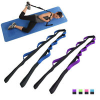 Yoga Stretch Out Strap With 12 Flexible Loops Belt Pilates Exercise Fitness Rope