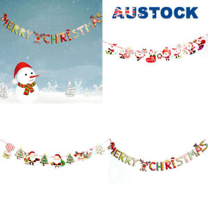 Merry Christmas Banner Santa Claus Flags Hanging Party Xmas Decoration Bunting F