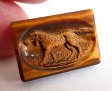 Chien de chasse Camée sculpture pour bague bijou ancien oeil de tigre