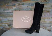 Prada Damen Stiefel Gr 36,5 boots Schuhe 1WP083 schwarz Ziege NEU ehem UVP 1100€