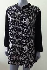 CHICOS Travelers Tunic Jacket Top Black Velvet Patchwork Burnout 3 14/16 NWT NEW